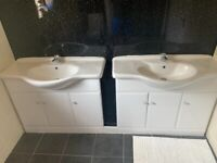 Sinks x 2 and vanity units x 2 Large