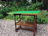 antique bridge or card table in oak