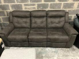 DFS Toward suede fabric 3 seater manual recliner
