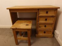Rustic Dressing Table Desk Pine Mexican 4 Drawer Waxed Solid Computer Office with stool seat