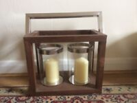 Large Wooden Double Candle Holder Display
