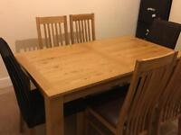 Dining table and 6 chairs,