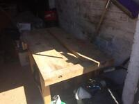 Old solid wood workbench