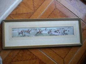 AN OLD REFRAMED HUNTING PRINT 24X10 INCHES