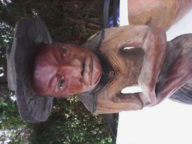 collection of carved african art inc figures, bowls, vases etc. all in mango or coconut wood