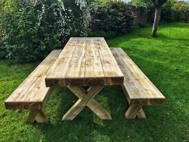 Solid Timber Sleeper 2.4m Table and 2 Benches (Seats 10)