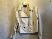 ***Ladies H&M Faux Leather Beige Biker Style Jacket Size 8/36 used £7