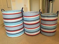 3 x Blue storage baskets