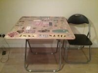 Folding Table with two folding chairs