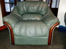 Leather suite in good condition, recently had £600 spent on it, pads replaced & colour refreshed.