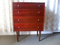 VINTAGE RETRO TEAK FOUR DRAWER CHEST OF DRAWERS FREE DELIVERY