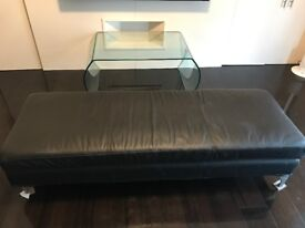 Black leather chaise longue/bench/3 seater backless sofa - £200 ONO