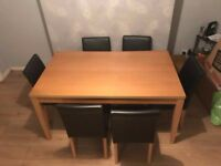 Oak Kitchen Table and 6 Black Leather Chairs