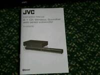 Jvc 2.1 ch wireless soundbar with wired subwoofer TH-D337AB