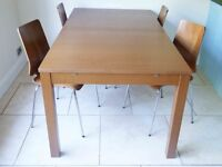 Extending Medium Brown Solid Wood Dining Table and 4 Chairs