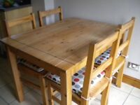 Pine Kitchen table, 4 chairs and side cabinet