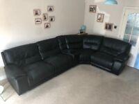 Harvey's Black 'Leathaire' faux leather corner manual recliner sofa
