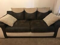 3 seater brown and cream sofa