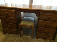 solid pine dressing table and stool