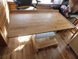 Wooden topped metal framed desk suitable for home office/ workshop etc