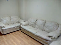 Sofa cream leather 3 seater and 2 seater