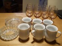 Mugs and glasses,6 white MUGS and 8 wINE GLASSES