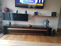 TV Entertainment Unit in Black Gloss and Walnut