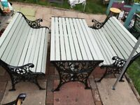 vintage cast iron bench and table set, lion head garden furniture, newly made to sell