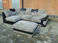 Fabulous 1 month old black and grey cord corner sofa and footstool.can deliver