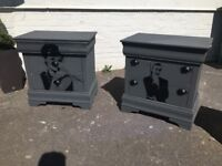 'ICON' bespoke one off shabby chic bedside cabinets Audrey Hepburn and James Bond