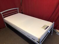SILVER METAL SINGLE BED WITH DREAMS FOAM MATTRESS ,CAN DELIVER