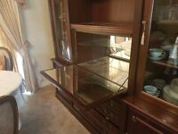 Vintage wooden unit/cabinet with gold detail and bar
