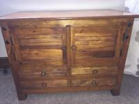 Solid Redwood Indian sideboard