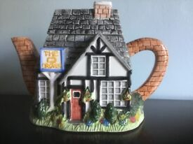 Annie Rowe The Village Teapot Collectables The Crown Handpainted ceramic
