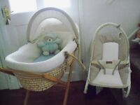 MAMAS AND PAPAS MOSES BASKET AND BOUNCY CHAIR