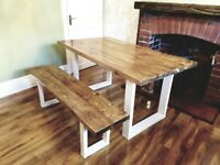 Handmade New Farmhouse Reclaimed Dining Table and Bench 160cm x 88cm Free Delivery