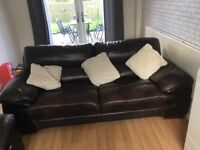 Leather 3 seater & 2 seater sofas