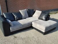 Very nice black and grey cord corner sofa. 1 month old. as new. clean and tidy. can deliver