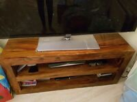 Solid sheesham wood tv stand