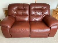 Comfy 2 seater electric recliner leather sofa