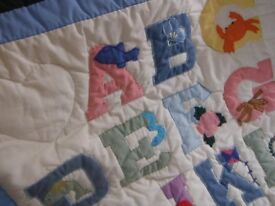 Vintage baby quilt ABC sewing patchwork