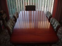 Dining Table With 6 Chairs, Mahogany Finish.