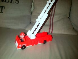 Vintage Fisher Price play family little people large toy fire engine with fireman