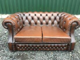 Beautiful Brown Leather Chesterfield 2 Seater Sofa