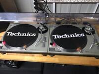 Technics SL 1200 MK2 Pair Turntables + Lids + Ortofon Concordes