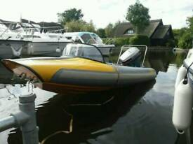 Flatacraft rib boat 4metre , trailer and outboard