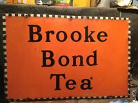 ORIGINAL and unrestored Brook Bond Tea Sign. Steel and Enamel. 30' wide by 20' approx. GREAT GIFT..