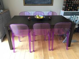 Walnut effect extending dining table