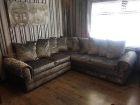 New Silver Grey Crushed Velvet Corner Sofas Free Delivery!