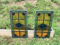 Stained glass panels pair